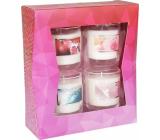 Heart & Home Granátové jablko + Mořský vánek + Dotek anděla + Růže a maliny Sojová vonná svíčka hoří až 15 hodin 4 x 52 g, dárková sada