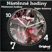 Albi Original Nástěnné hodiny Růžové květy, 25,5 cm × 25 cm