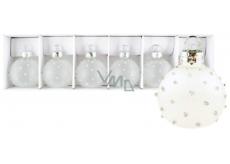 Baňky skleněné mléčné s tečkami sada 4 cm 6 kusů