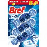 Bref Blue Aktiv Chlorine WC blok pro hygienickou čistotu a svěžest Vaší toalety, obarvuje vodu do modrého odstínu 3 x 50 g