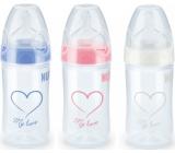 Nuk First Choice Plus New Classic Love silikonové pítko 0-6 měsíců láhev plastová 150 ml