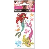 Tetovací obtisky barevné dětské s glitry Mořské víly 10,5 x 6 cm