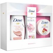 Dove Glowing Clay sprchový gel pro ženy 250 ml + Nourishing Secrets Glowing Ritual tělové mléko 250 ml + Pomegranate Seeds & Shea Butter Scent tělový peeling 225 ml, kosmetická sada