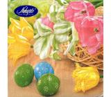 Nekupto Papírové ubrousky Velikonoční Žluté, růžové tulipány, zelené, modré vajíčko 3 vrstvé 33 x 33 cm 20 kusů