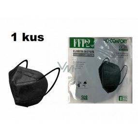 HO-Comfort Respirátor ústní ochranný 5-vrstvý FFP2 obličejová maska Černá 1 kus