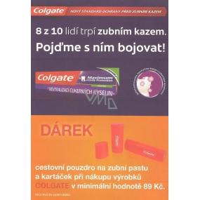 DÁREK Colgate červený obal na zubní pastu a kartáček 1 kus