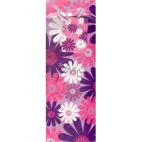 Nekupto Dárková papírová taška na láhev 33 x 10 x 9 cm Fialová s květy 1 ks 861 30 ALH