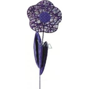 Květina velká tmavě fialová proplétaná 49 cm 1 kus