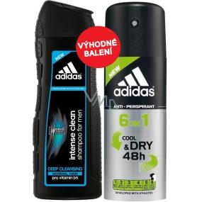 Adidas Cool & Dry 48h 6v1 antiperspirant deodorant sprej pro muže 150 ml + Adidas Intense Clean šampon pro normální vlasy pro muže 200 ml