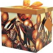 Dárková krabička s mašlí a jmenovkou skládací vánoční zlatá 1366 25 x 25 x 25 cm