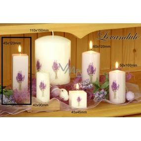 Lima Květina Levandule vonná svíčka bílá s obtiskem levandule hranol 45 x 120 mm 1 kus