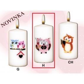 Lima Sovy Růžová sova svíčka s obtiskem bílá válec 50 x 100 mm 1 kus