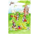 Anděl Velikonoční igelitová taška Zajíčci pod stromkem 32 x 20 x 4 cm