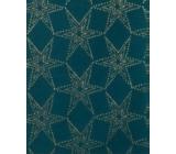 Zöllner Vánoční Luxusní balicí papír s ražbou Luxury Noble Stars petrolejová hvězdy 1,5 x 70 cm