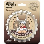 Nekupto Hobby 3v1 otvírák, podtácek, magnet Vášnivý kuchař 10 cm