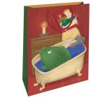 Nekupto Gift paper bag 32.5 x 26 x 13 cm Christmas carp in the bathtub WBL 1948 30