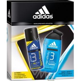 Adidas Action 3 Sport Energy antiperspirant deodorant sprej 150 ml + sprchový gel 250 ml, kosmetická sada