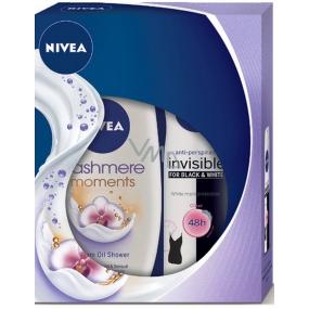 Nivea Invisible Black & White Clear antiperspirant deodorant sprej pro ženy 150 ml + Cashmere Moments sprchový gel 250 ml,pro ženy kosmetická sada