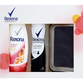 Rexona Motionsense Invisible Black + White antiperspirant deodorant sprej pro ženy 150 ml + Tropical Power sprchový gel 250 ml + pouzdro na telefon, kosmetická sada