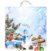 Igelitová taška Sněhulák, ptáček, dárek 43,5 x 46 cm