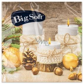 Big Soft Papírové ubrousky 2 vrstvé 33 x 33 cm 20 kusů Vánoční Svíčky, baňky, žaludy