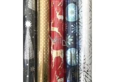 Zöllner Vánoční Luxusní balicí papír Platinum červený - zlatý jelen 1,5 m x 70 cm