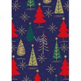 Ditipo Dárkový balicí papír 70 x 200 cm Vánoční modrý zlaté, zelené a červené stromky