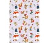 Ditipo Dárkový balicí papír 70 x 100 cm Vánoční světle fialový - sněhulák, liška, veverka 2 archy