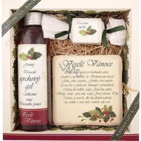 Bohemia Veselé Vánoce sprchový gel 200 ml + ručně vyráběné mýdlo 30 g + dekorační kachlík s potiskem 10 x 10 cm, kosmetická sada