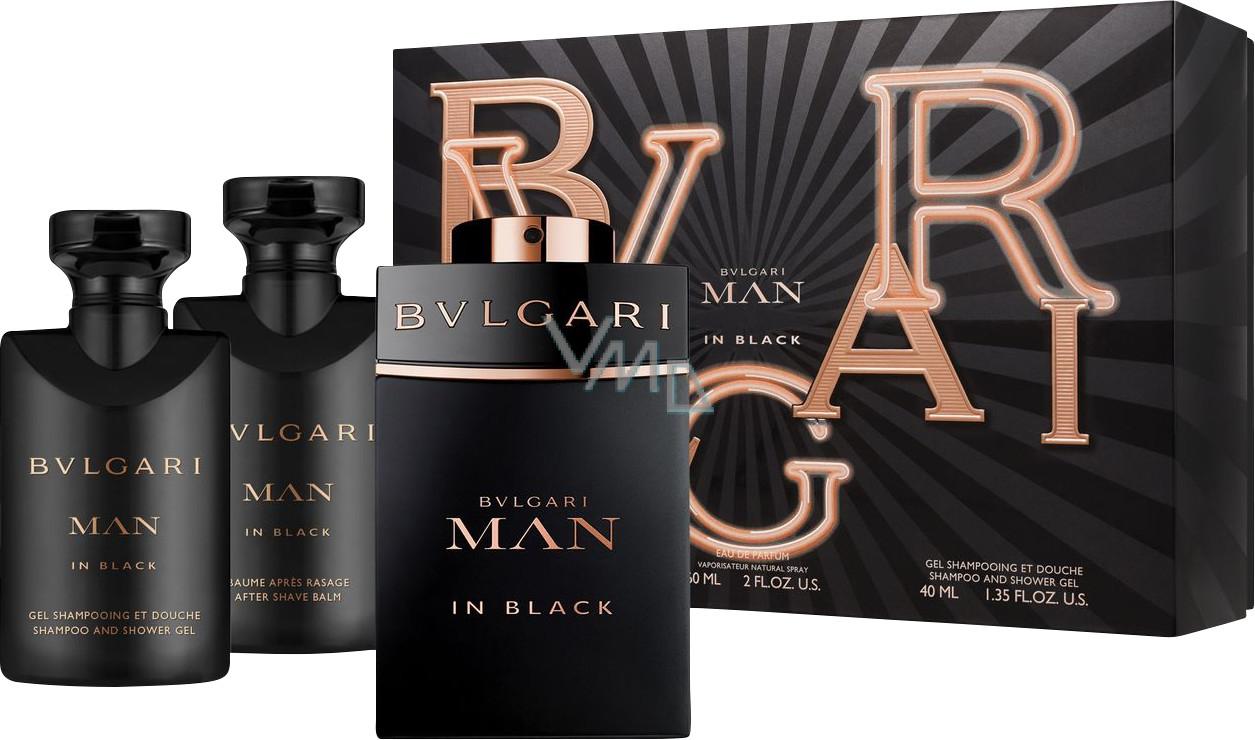 Bvlgari Man In Black parfémovaná voda 60 ml + balzám po holení 40 ml + šampon a sprchový gel 40 ml, dárková sada