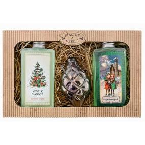 Bohemia Gifts & Cosmetics Šťastné a Veselé Vánoce sprchový gel 2 x 200 ml + skleněná ozdoba, kosmetická sada