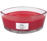 WoodWick Pomegranate - Granátové jablko vonná svíčka s dřevěným širokým knotem a víčkem sklo loď 453 g