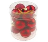 Baňky mini červené mix povrchů 2,5 cm ve válci 12 kusů