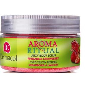Dermacol Aroma Ritual Rebarbora a jahody Svěží tělový peeling 200 g Rhubarb and Strawberry