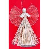 Andílek z palmového šustí a křídla se zlatými vlákny 33 cm