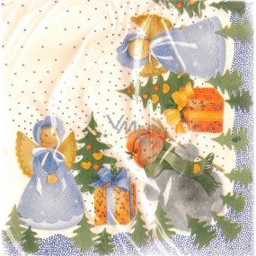 Lios vánoční papírové ubrousky andílci 2 vrstvé 33 x 33 cm 20 kusů