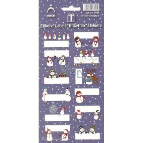 Arch Vánoční etikety samolepky Sněhuláci tmavě modrý arch 12 etiket