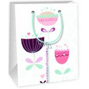 Ditipo Dárková papírová taška 11,4 x 6,4 x 14,6 cm bílá světle zelená 3 kytky
