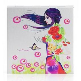 Diva & Nice Zrcátko dvojité klasické a zvětšovací čtvercové malované Dívka 6 x 6 cm