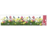 Okenní fólie bez lepidla pruhy Tulipány, Narcisy 64 x 15 cm