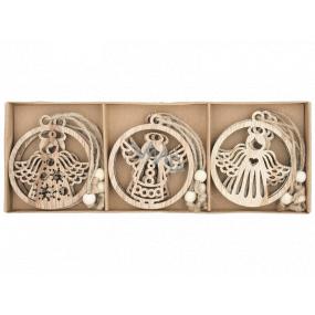 Anděl dřevěný přírodní 7,5 cm 9 kusů, v krabičce