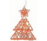 Proutěný stromeček s hvězdičkou oranžový 29 cm závěs