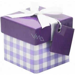 Dárková krabička skládací s mašlí 02 Fialové káro Mini 7 x 7 x 7 cm