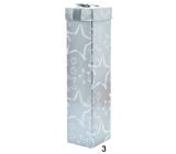 Dárková krabička skládací na lahev vánoční stříbrná bílé hvězdy 34 x 8 x 8 cm