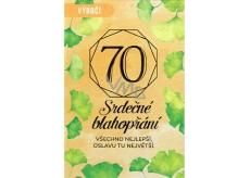 Nekupto Přání k narozeninám 70 Srdečné blahopřání 115 x 170 mm 3489 70 F