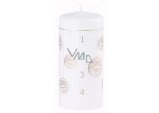 Arome Adventní kalendář baňky svíčka bílá válec 70 x 150 mm 410 g