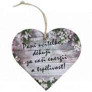 Bohemia Gifts & Cosmetics Dřevěné dekorační srdce s potiskem - Paní učitelko, děkuji 12 cm