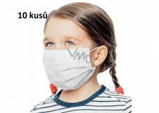 Rouška 3 vrstvá ochranná zdravotní netkaná jednorázová, nízký dýchací odpor pro děti 10 kusů bílá bez potisku