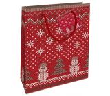 Nekupto Gift paper bag 23 x 18 x 10 cm Christmas red knitted pattern WBM 1933 30
