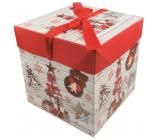 Dárková krabička skládací s mašlí Vánoční s dárky a ozdobami 16,5 x 16,5 x 16,5 cm